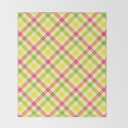 Yellow, Green and Pink Diagonal Plaid Pattern Throw Blanket