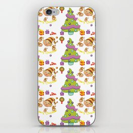 Hand painted green red Merry Christmas holiday typography pattern iPhone Skin