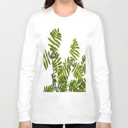 Green Rowan Leaves White Background #decor #society6 #buyart Long Sleeve T-shirt