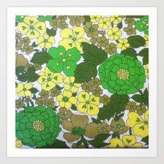 Retro floral sheets greens Art Print