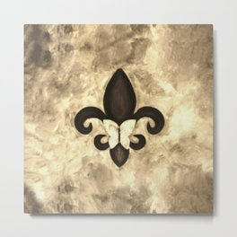 Sepia Gold and Brown Fleur de Lis with Butterfly Metal Print