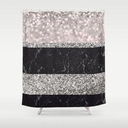Gray Black Marble Glitter Stripes Glam #1 #shiny #decor #art #society6 Shower Curtain