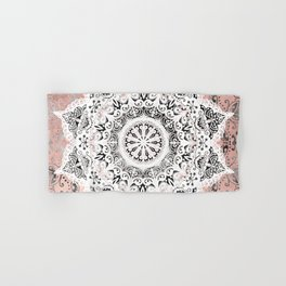 Dreamer Mandala White On Rose Gold Hand & Bath Towel
