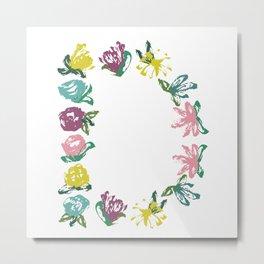Floral D Monogram Metal Print