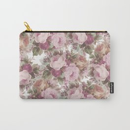 Vintage blush pink burgundy roses floral painting Carry-All Pouch