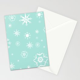 Mint Winter Dream #3 #snowflakes #pattern #decor #art #society6 Stationery Cards