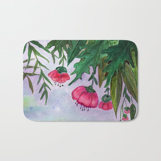 Tropical flowers and leaves . Bath Mat