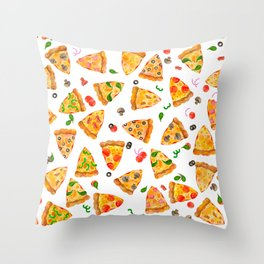 Watercolor Pizza Fast Food Pattern Throw Pillow