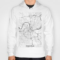 nashville Hoodies featuring Nashville Map Gray by City Art Posters