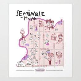 Seminole Heights Map Art Print