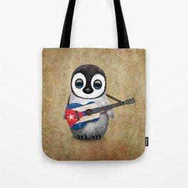 Baby Penguin Playing Cuban Flag Guitar Tote Bag
