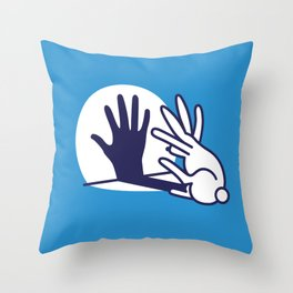 hand shadow rabbit Throw Pillow