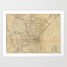 Vintage Philadelphia Railroad Map (1911) Art Print
