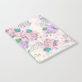 Pastel Purple and blue Lilac & Hydrangea - Flower Design Notebook
