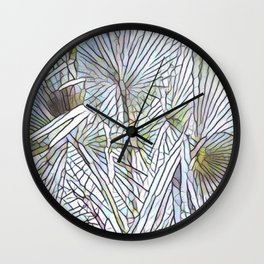 Abstract Palm, Palm Tree Design, White colorful palm, Wall Clock