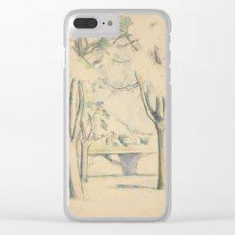 Mont Sainte-Victoire Seen beyond Wall Enhanced Vintage Watercolor Clear iPhone Case