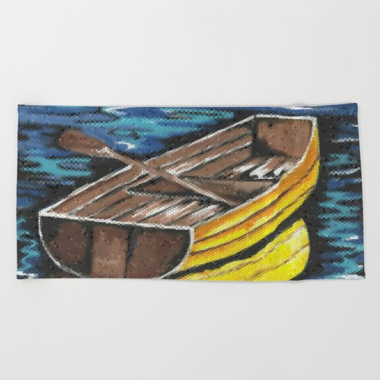 Wooden Dinghy Beach Towel