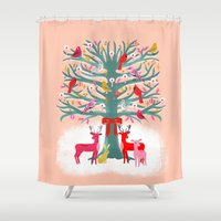 Woodland Christmas Tree by Andrea Lauren  Shower Curtain