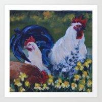 spring chickens Art Print