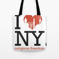 religious Tote Bags featuring Luv New York Religious Freedom by The Mindful