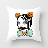 alisa burke Throw Pillows featuring cavity cutie I by Ally Burke