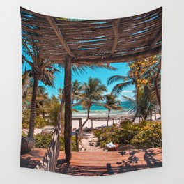 Cabana view of the Beach (Color) Wall Tapestry