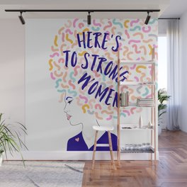 'To Strong Women' Typographic Portrait #grlpwr #illustration Wall Mural