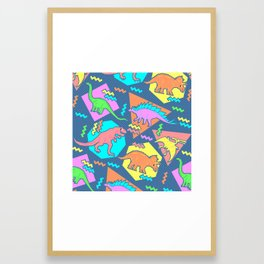 Nineties Dinosaur Pattern Framed Art Print