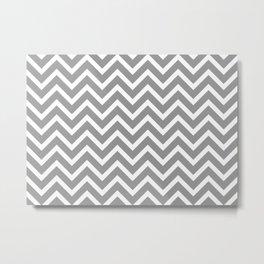 grey, white zig zag pattern design Metal Print