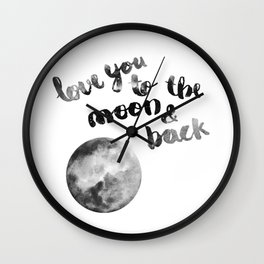 """SLATE """"LOVE YOU TO THE MOON AND BACK"""" QUOTE + MOON Wall Clock"""