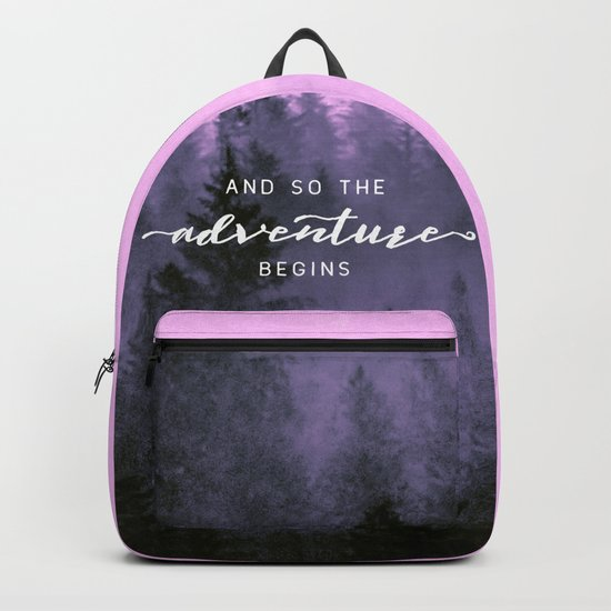 And So The Adventure Begins Pink Forest Backpack