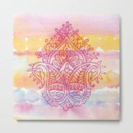 Watercolor & Indian Woodblock Design Metal Print