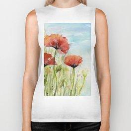 Red Flowers Watercolor Poppies Biker Tank