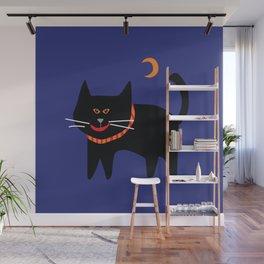 Halloween black Cat an Orange Moon Wall Mural