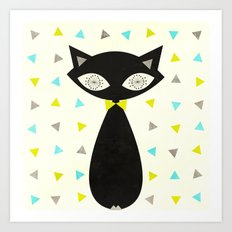 Mid Century Cat  Art Print