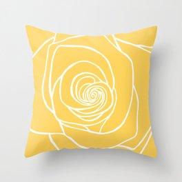Sunshine Yellow Rose Drawing Throw Pillow