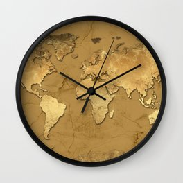 world map marble gold 3 Wall Clock