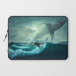 Surfing with sharks Laptop Sleeve