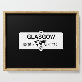 Glasgow Scotland GPS Coordinates Map Artwork with Compass Serving Tray