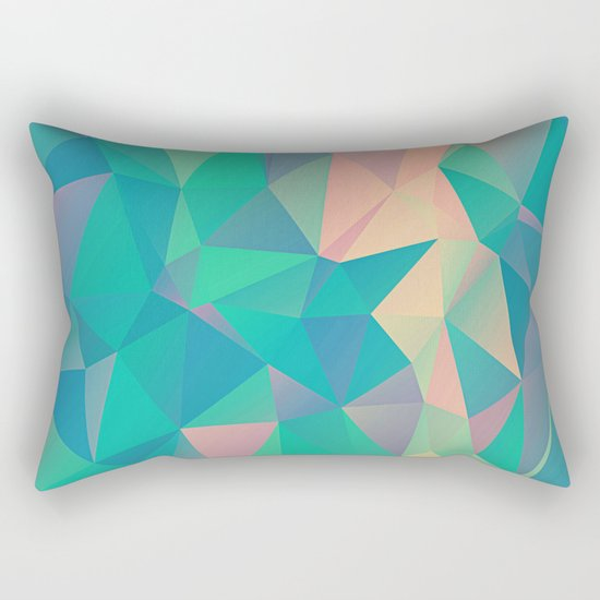 Fractured, Colorful Triangles Geometric Shapes Rectangular Pillow