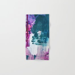 Complexity: a pretty abstract mixed-media piece in teal and purple by Alyssa Hamilton Art Hand & Bath Towel