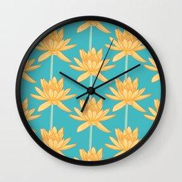 Aquatic Water Lily Pattern Wall Clock
