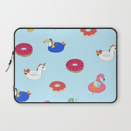 Summer pattern with cats playing in the pool Laptop Sleeve
