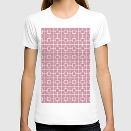 Puce Pink Square Chain Pattern T-shirt