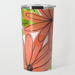 Pink Daisy Graphic Drawing Travel Mug