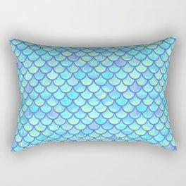 Blue Mermaid Scales Rectangular Pillow