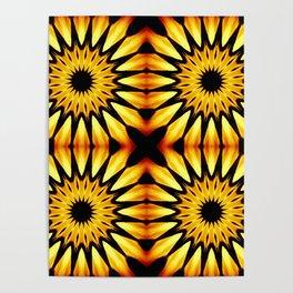 Gold Pinwheel Flowers Poster