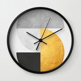 Golden Geometric Art VII Wall Clock