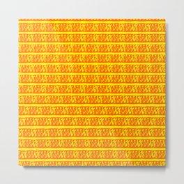 bright happy yellow and orange horizontal pattern design Metal Print