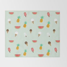 Summer Pattern cute ice creams, watermelon & pineapples Throw Blanket